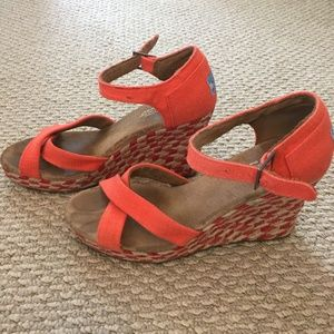 Toms orange woven wedge heels, 8